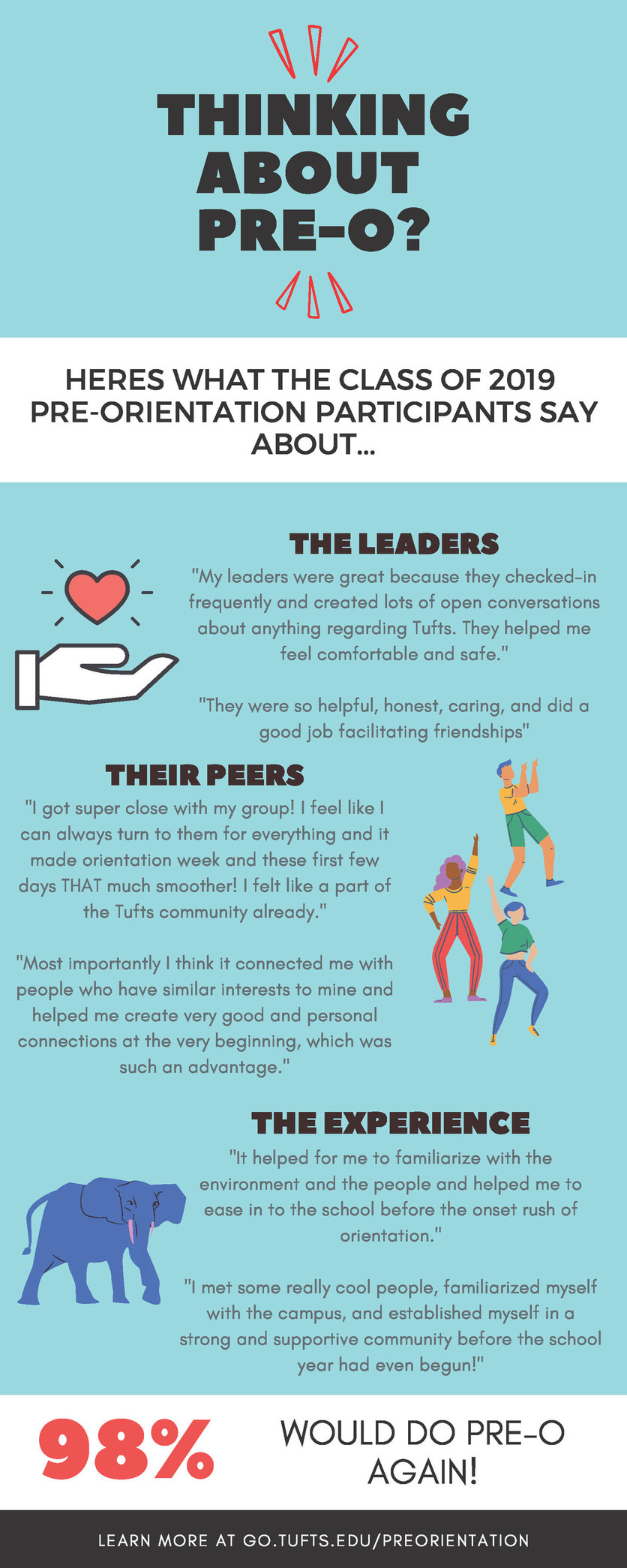 Leader quotes. 98% of students say they would do Pre-Orientation again! Learn more at go.tufts.edu/preorientation.