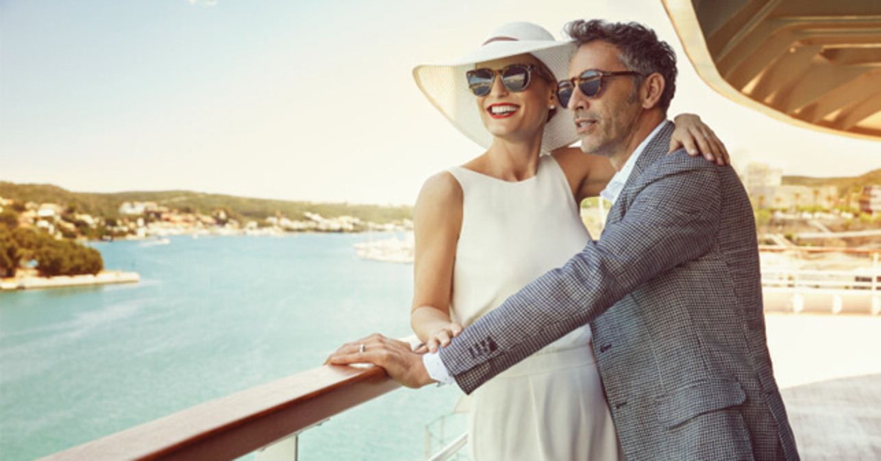 Seabourn couple on deck