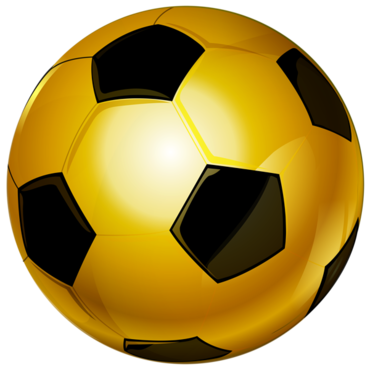 Photo of a gold and black soccer ball