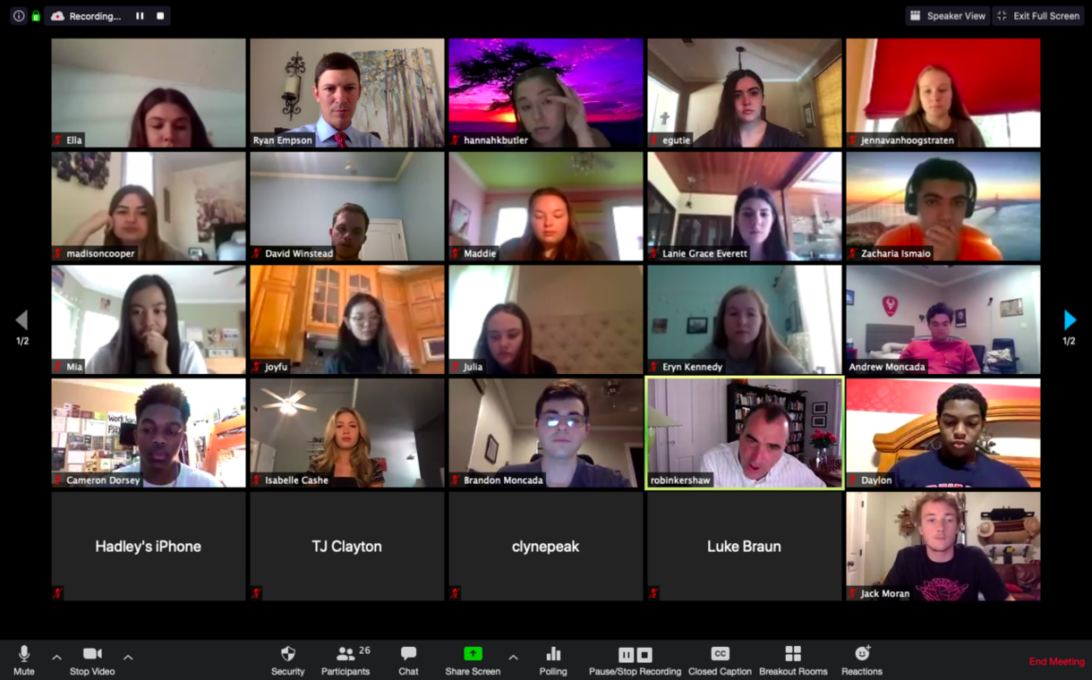 Picture of zoom class meeting with NYT best selling author joining in