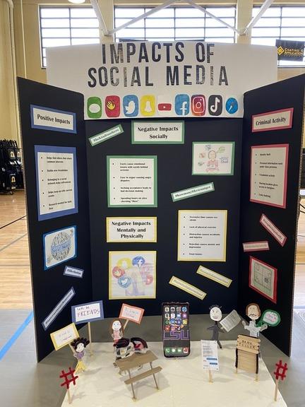 Picture of social studies fair display on social media