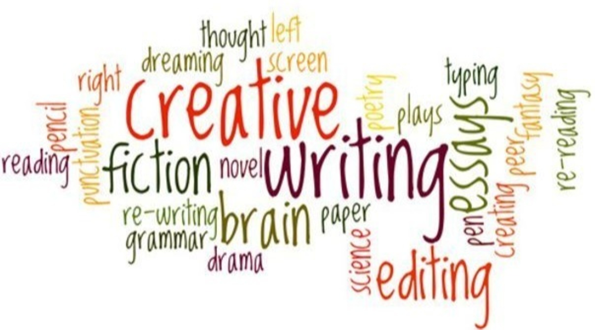 Collage of creative writing words - fiction, novel, writing, grammar, etc.
