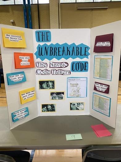 Picture of social studies fair display on Navajo Code Talkers