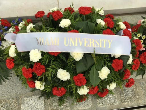 Miami University Wreath at a previous Memorial Day Ceremony
