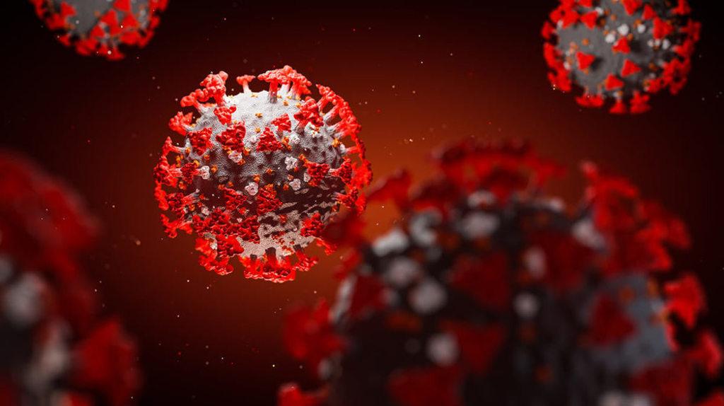 Graphic illustrating what coronavirus looks like.