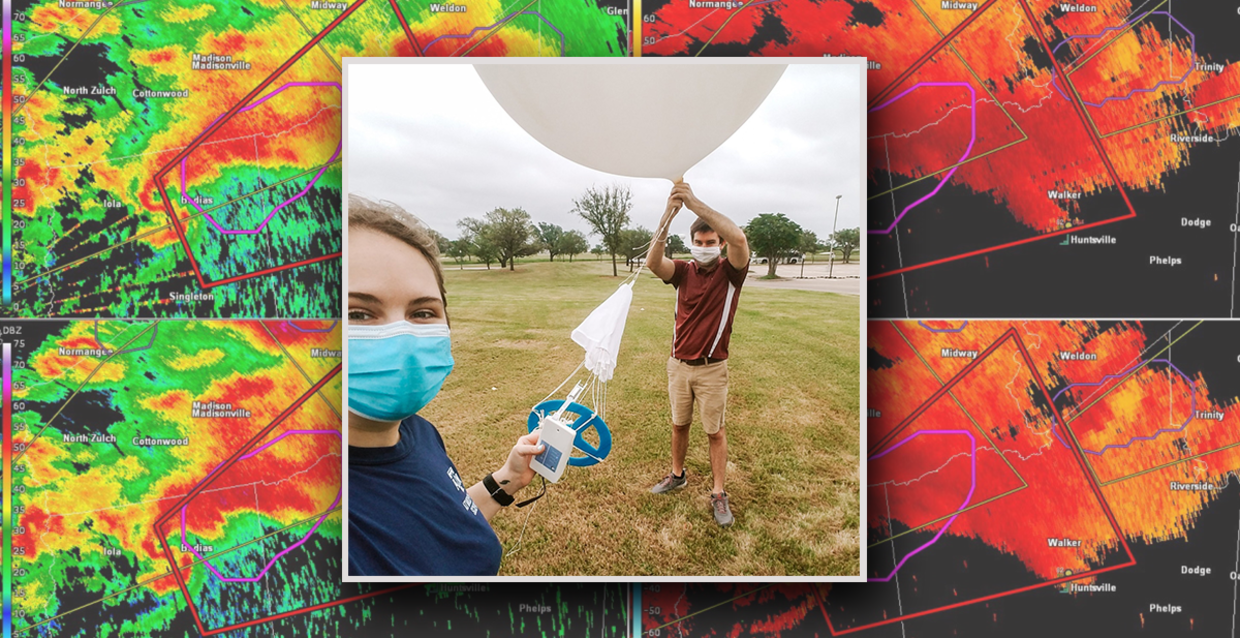 Image of two Texas A&M scientists launching a weather balloon.