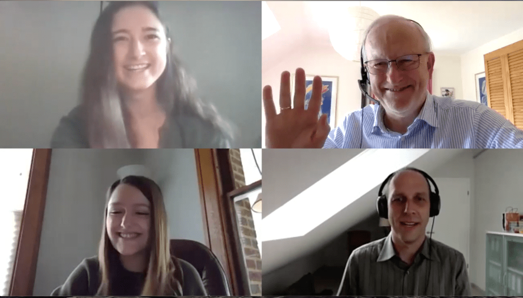 Screenshot of the 4 participants in the VideoCast