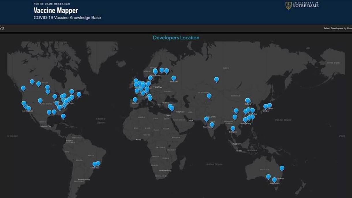 Graphic map of the world tracking coronavirus vaccines