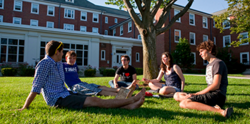 Students on the residential quad