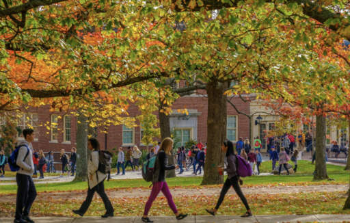 Students walking across campus framed by tree brances with fall leaves turning orange.