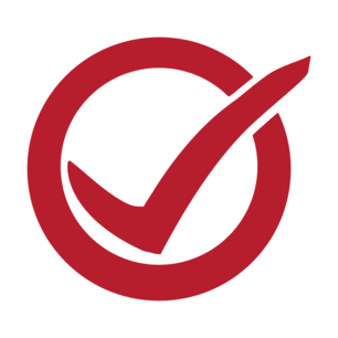 Red checkmark in a red circle