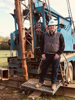 Matt Barnes '15 on the job as operations manager in the water resources industry.