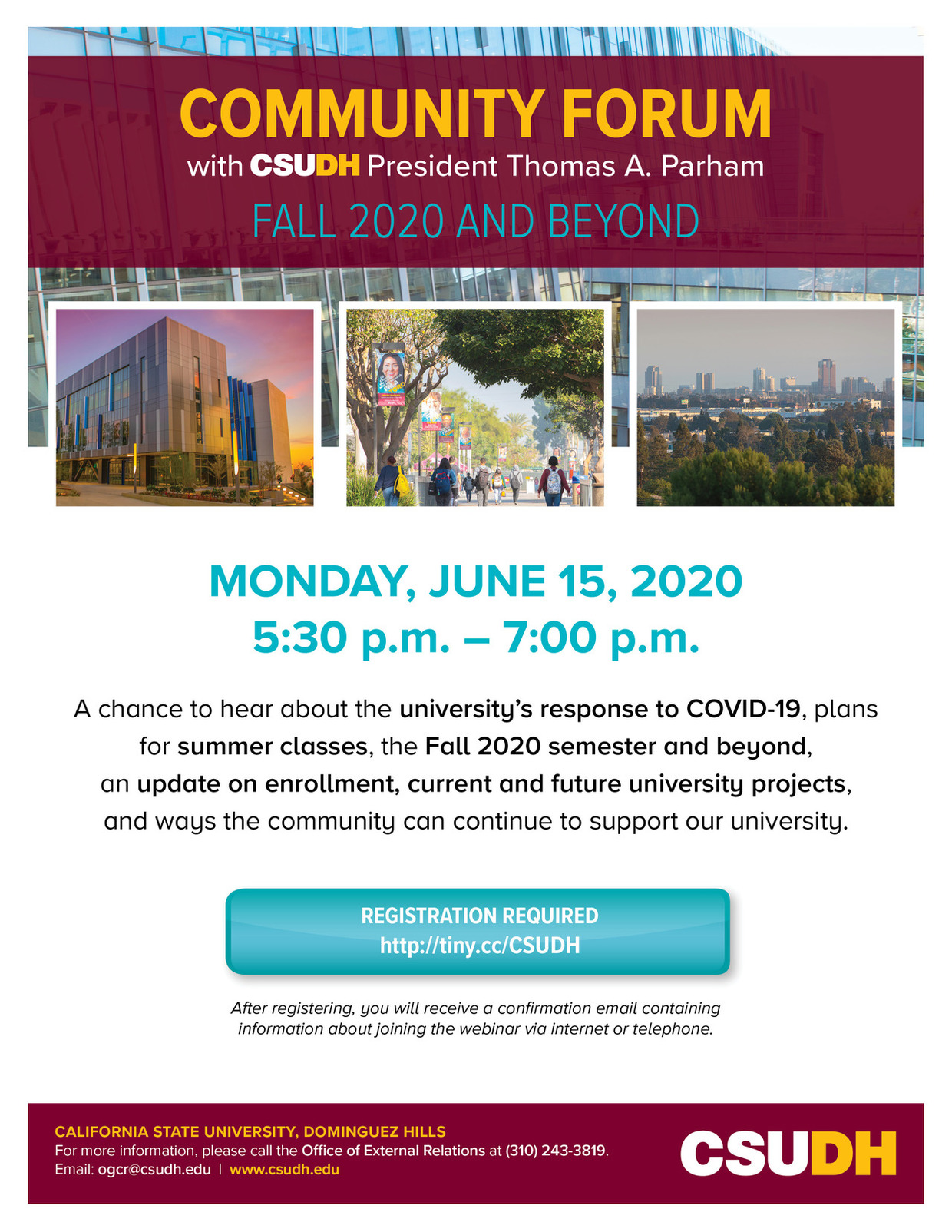 Register for Community Town Hall with CSUDH President Thomas A. Parham
