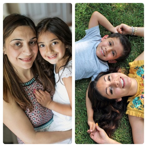 Sugana Chawla, left, poses with her daughter and Jasmine Botello poses with her son.