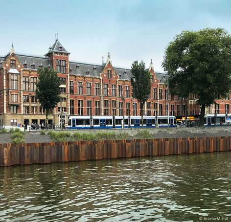 steel sheet piles used in the construction of the new 'De Entree' underwater bicycle shed for 7,000 bicycles, in front of Amsterdam's central train station