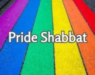 Pride Shabbat on rainbow background