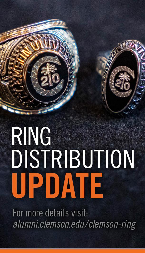 Ring Distribution Update For more details visit alumni.clemson.edu/clemson-ring