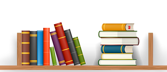 Illustration of books stacked on a shelf