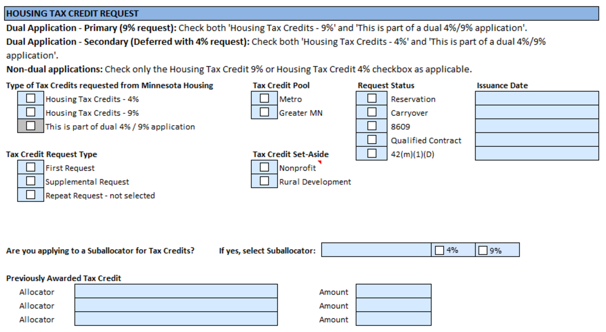 Housing Tax Credit Request