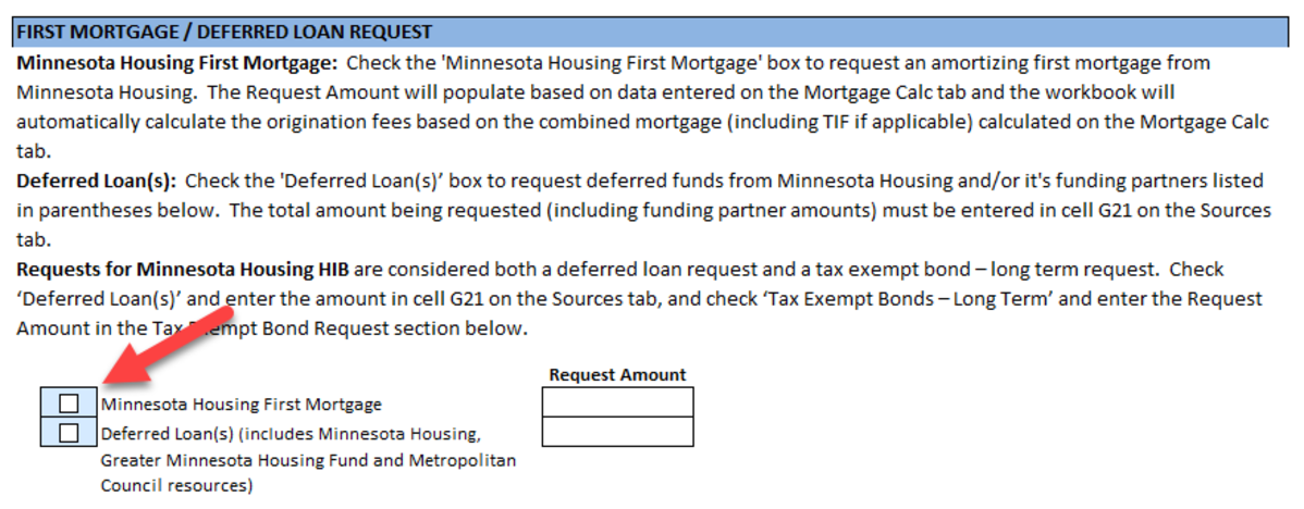 First Mortgage/Deferred Loan Request