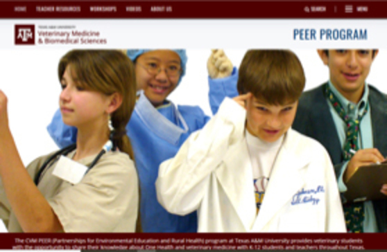 screenshot of the new PEER Program website front page with children dressed as doctors and scientists