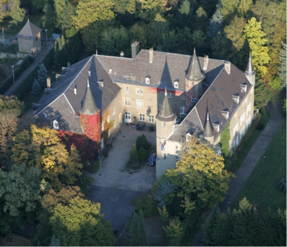 Aerial view of the Château de Differdange, where Miami's Luxembourg campus, the John E. Dolibois European Center, often abbreviated to MUDEC, is located