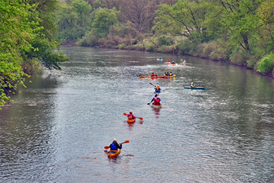 People in kayaks on a river