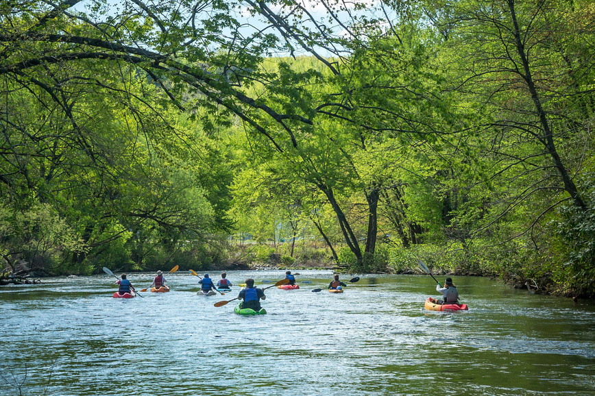 People in kayaks paddle down a river