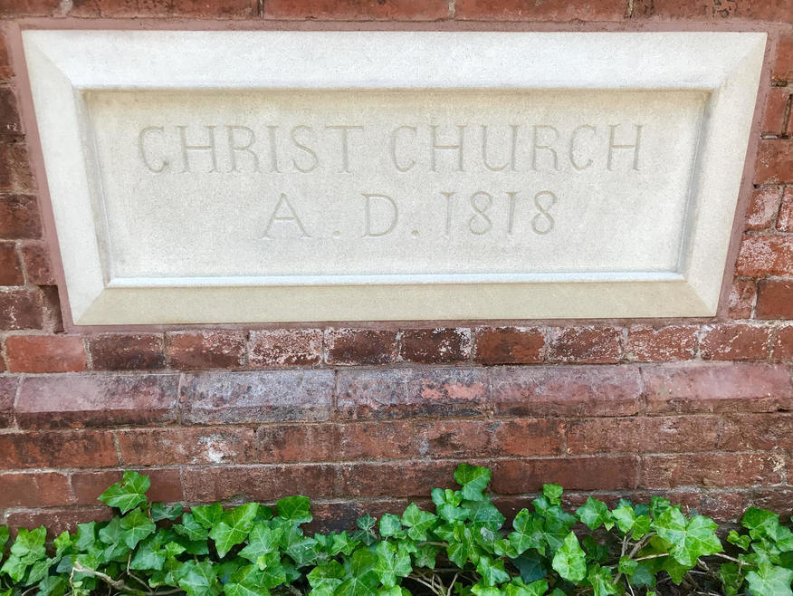 Christ Church, A.D. 1818, stone plaque in brick wall