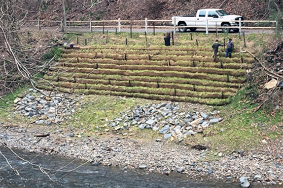 A stream bank is re-inforced with rock and other structures