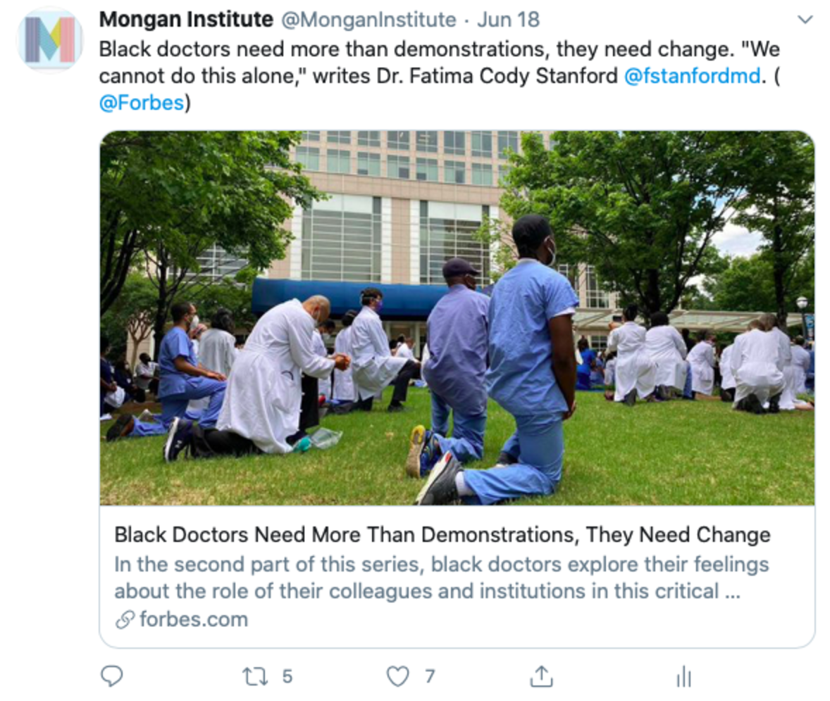 Tweet that reads: Black doctors need more than demonstrations, they need change.