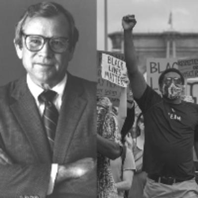 Image of Senator Baker next to Image of Black Lives Matter protest