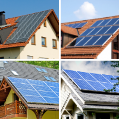 College of 4 different homes with solar panels