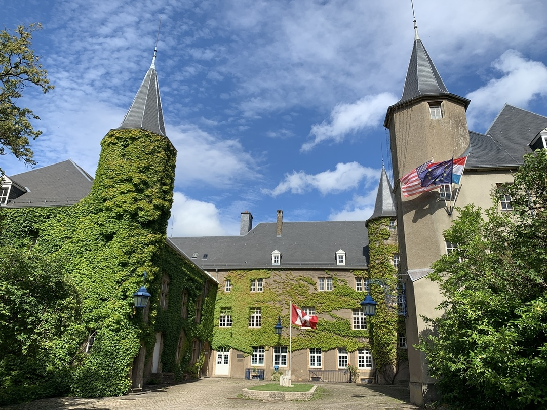 The Chateau with blue sky and flags flying