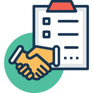 Clip art of a clipboard and handshake