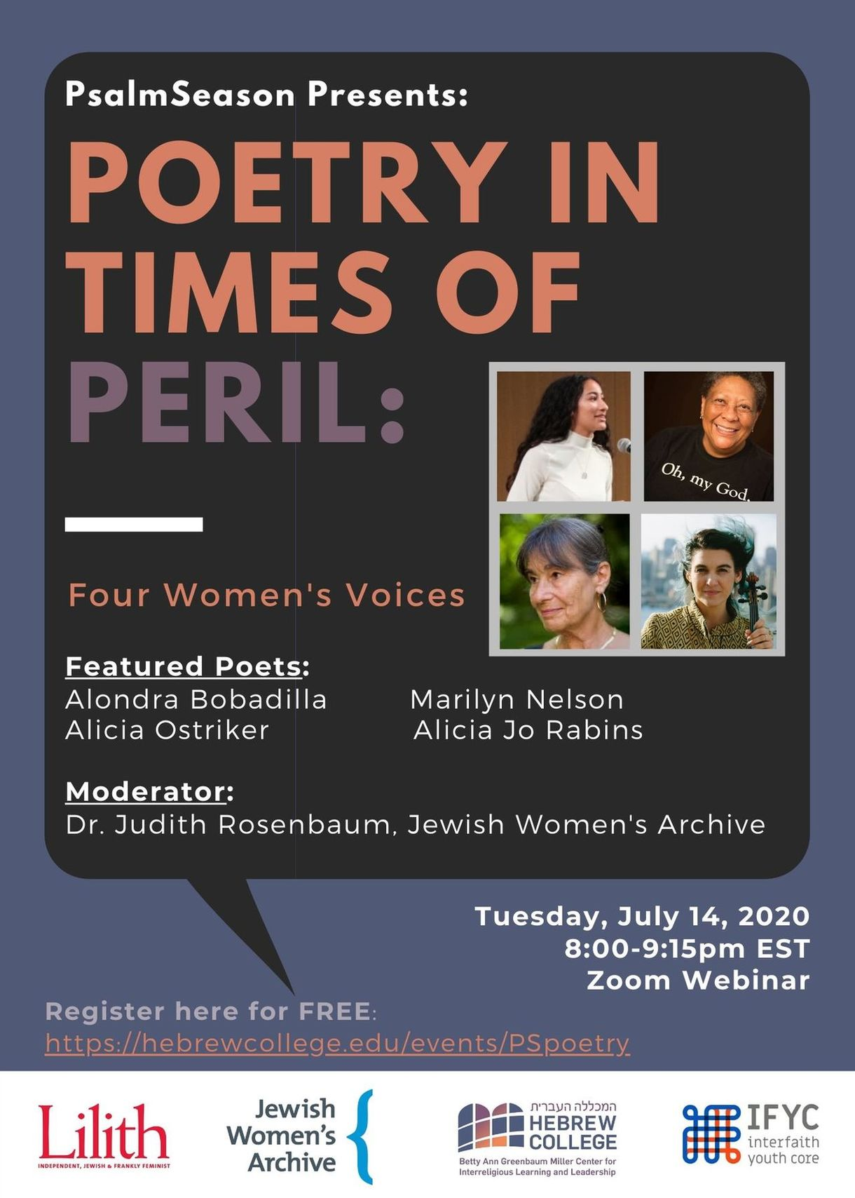 Poetry in Times of Peril: Four Women's Voices - Tuesday, July 10 @ 8pm EST