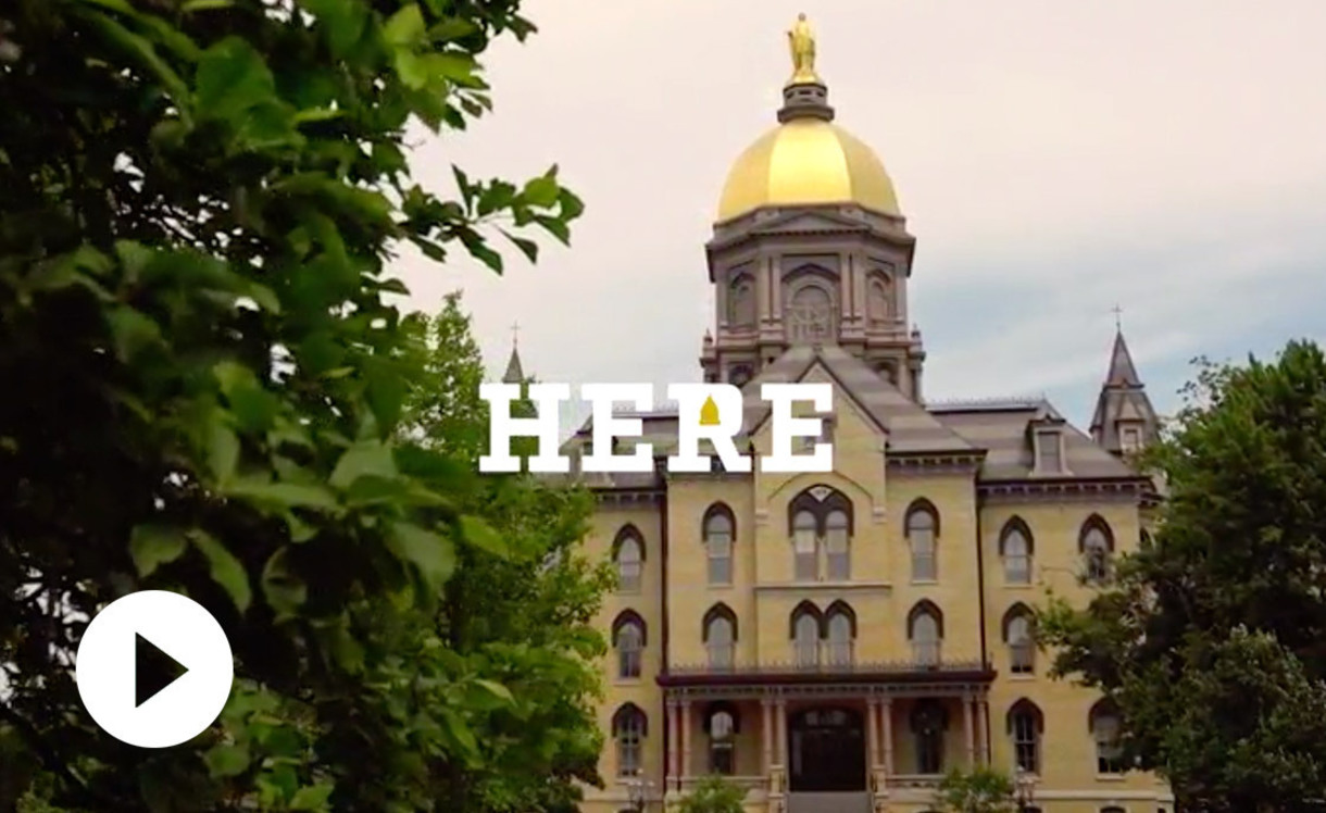 Graphic shows photo of the Golden Dome of the Main Building and instructs you to click to start a video.