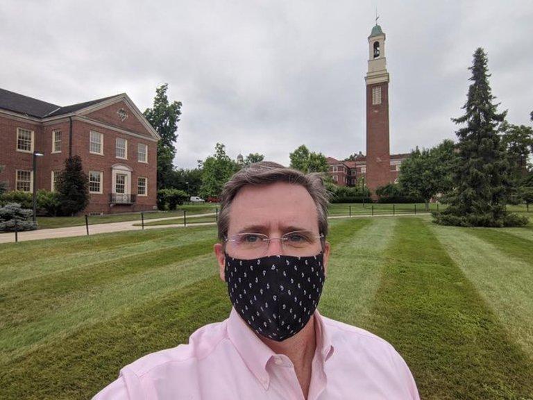 Provost Jason Osborne wearing a mask on Miami's campus