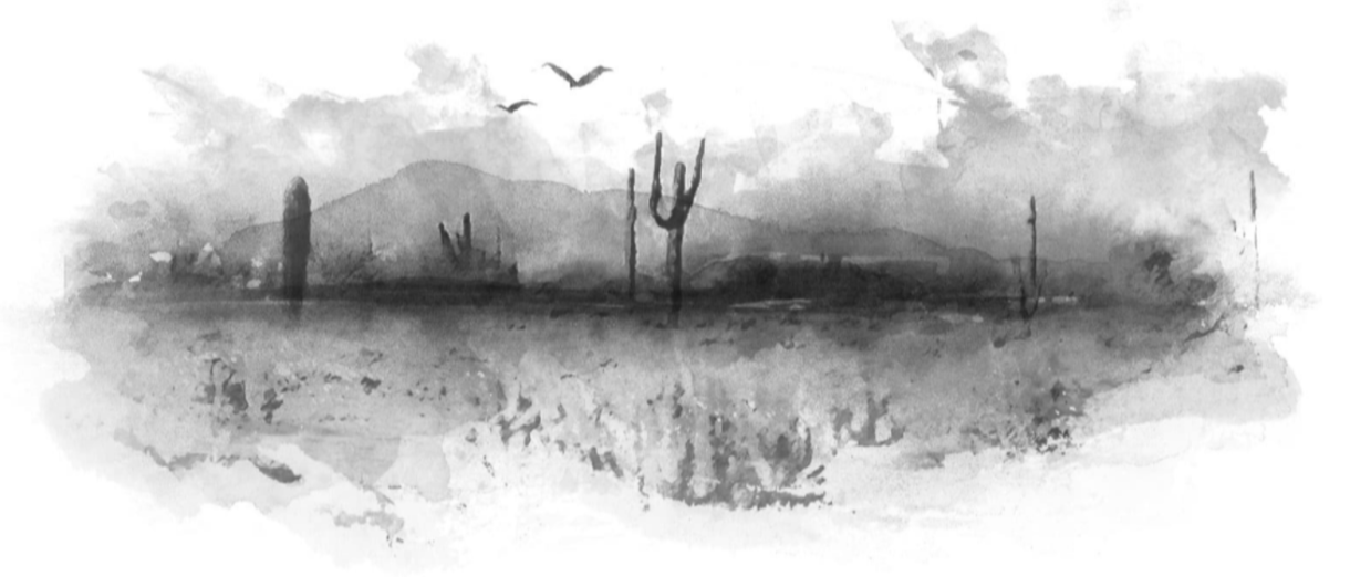 Black and white ink drawing of desert landscape.