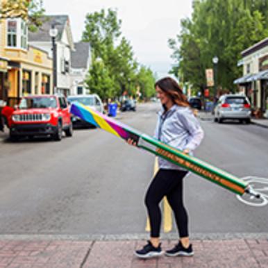 Placing Art Poles in downtown Gresham.