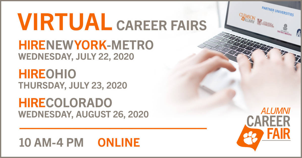 Virtual Career Fairs. HireNewYork-Metro. Wednesday, July 22, 2020. HireOhio, Thursday, July 23, 2020, HireColorado, Wednesday, August 26, 2020. 10am-4pm Online