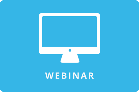 Clipart of a computer screen in a blue box with the word Webinar