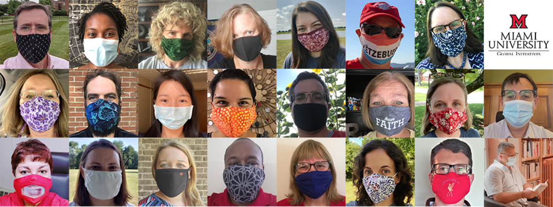 Collage of Global Initiatives employees wearing masks