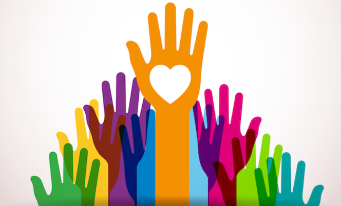 Image of drawing depicting several raised hands in different colors and shaped like a triangle. The one hand at the top has a white heart drawn on palm.
