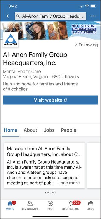 screenshot of the Al-Anon Family Group Headquarters, Inc. LinkedIn profile page