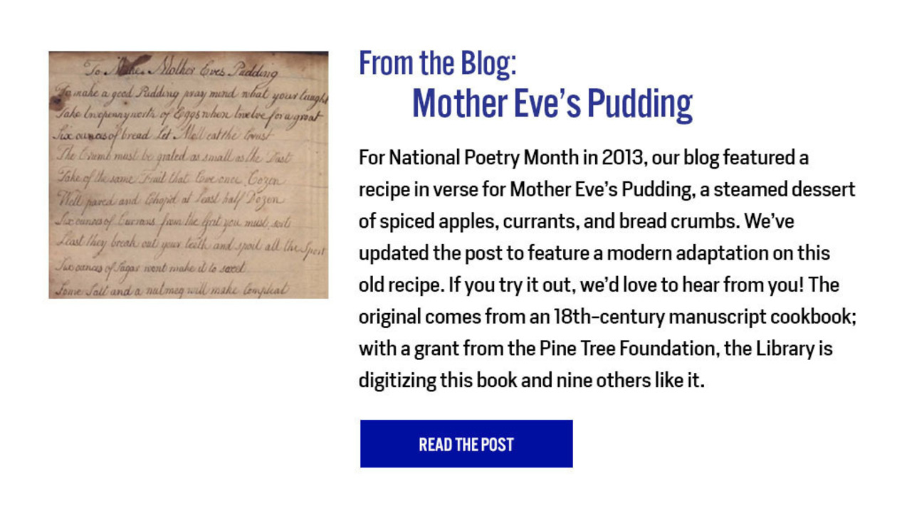 From the Blog: Mother Eve's Pudding: https://nyamcenterforhistory.org/2013/04/05/mother-eves-pudding/