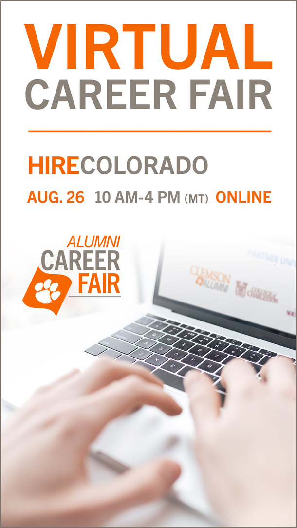 Virtual Career Faire, Hire Colorado, August 26, 10am-4pm (MT) Online. Alumni Career Fair