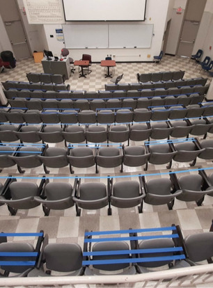 Classroom in Royall Hall set up for social distancing
