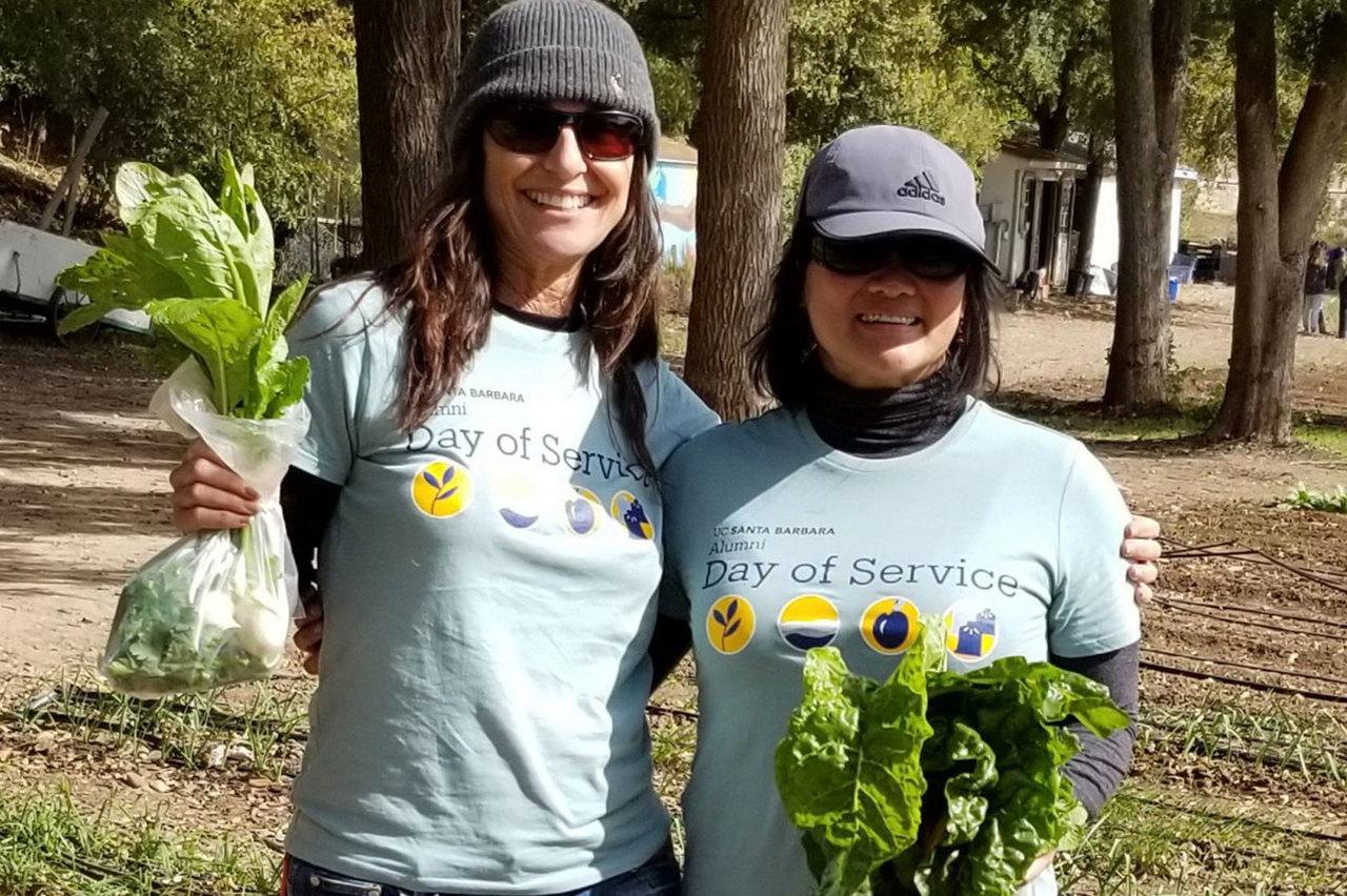 volunteers tending a community garden