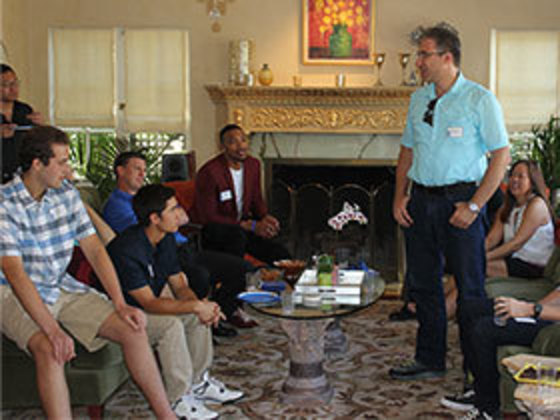 Alumni visiting with students